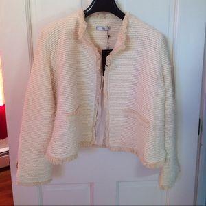 Mango Balboa Tweed Jacket Ivory Beige